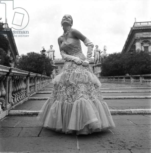 Fashion; Gasbarri wedding collection, worn by Joe Patterson, Rome, Italy, 1954 (b/w photo)