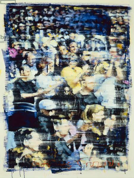 Moving Crowds 10, 1999 (oil and collage on canvas)
