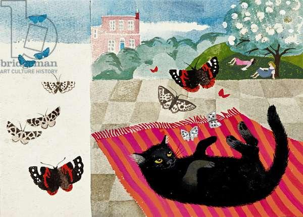 Darius and Butterflies (pencil, chalk, watercolour and gouache)