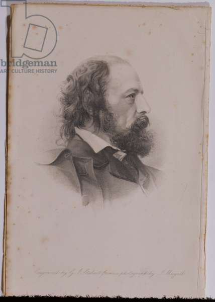 Portrait of Alfred, Lord Tennyson (1809-92) engraved by G.J.Stodart (engraving) (b/w photo)