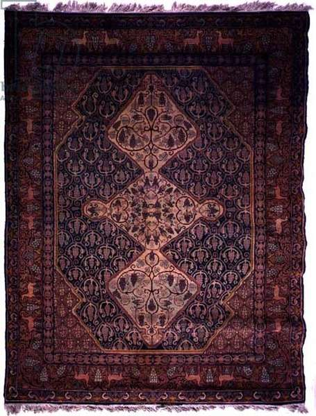 Jewish rug with rhomboid medallion design embellished with vines and grapes, made at the Marbadiah carpet factory in Jerusalem, 1923-24 (cotton and wool)