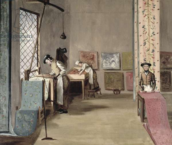 Interior of a Wallpaper Manufactory (oil on canvas)