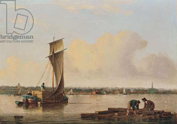A Keel on the Humber, late 1820s (oil on panel)