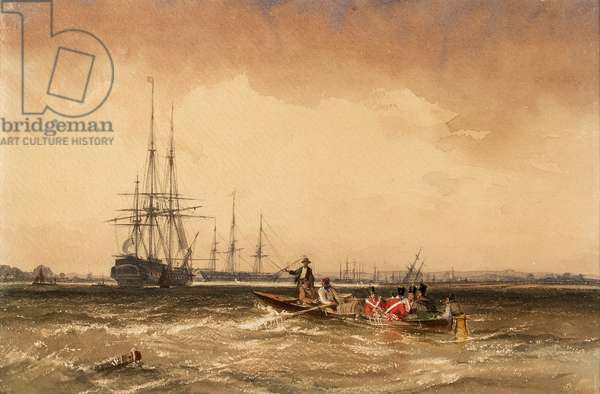 On the Medway (Marines Going out to the Indiaman, Northfleet), 1839 (w/c on paper)