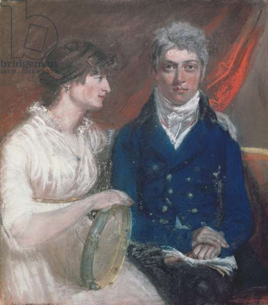 Portrait of Benjamin Thompson and his Wife, 1800 (pastel on paper)