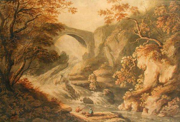 Bridge and Waterfall, early 19th century (pencil & w/c on paper)
