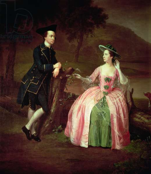 Sir George and Lady Strickland, 1751 (oil on canvas) (detail of 96236)