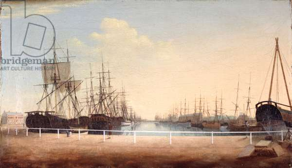 A West View of the New Dock at Kingston upon Hull (oil on canvas)