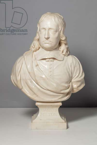 Bust of Milton (after Edward Pierce), 18th century (marble)