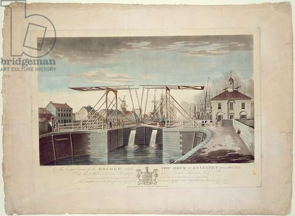 An East View of the Bridge and New Dock at Kingston upon Hull, 1786 (etching & aquatint)