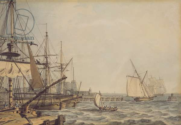 Shipping off the Mouth of the River Hull, early 19th century (pencil, pen, ink & w/c on paper)