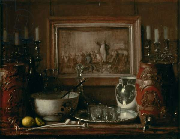 Still Life: The Pickwick Club, c.1954-56 (oil on plywood panel)
