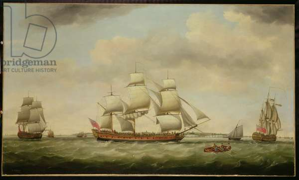 The East Indiaman 'General Coote' in Three Positions off the Downs, 1782 (oil on canvas)