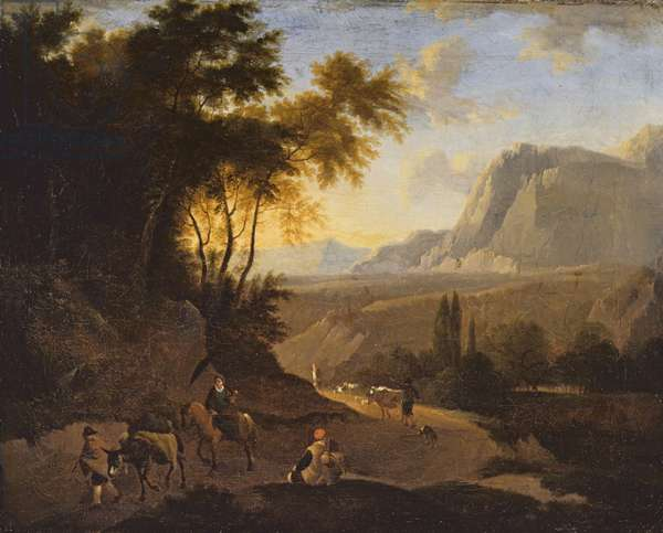 Mountain Landscape with Figures, late 17th century (oil on canvas)