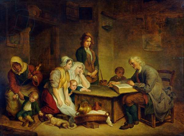 A Father Reading a Bible to his Family, 1770 (oil on panel)
