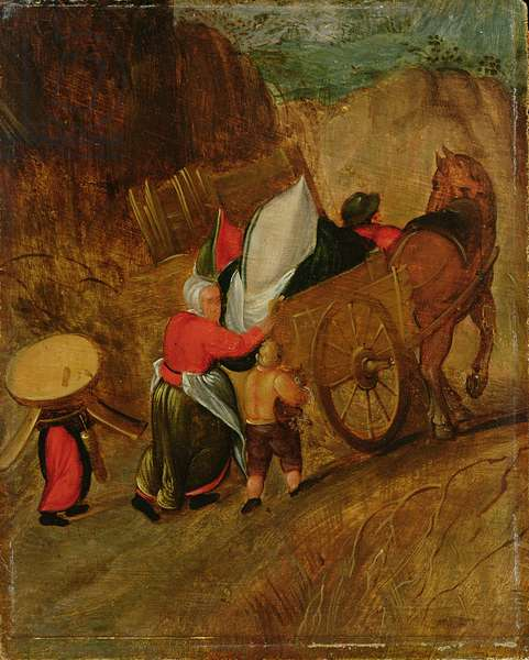 Landscape, Peasants, Horse and Cart, early 17th century (oil on panel)