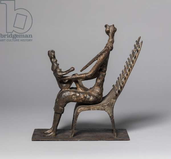 Woman and Child in Ladderback Chair, 1952 (bronze)
