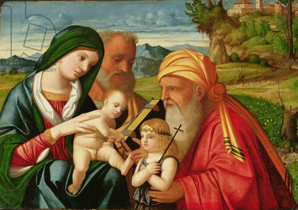 Holy Family with St. Simeon and John the Baptist, early 16th century (oil on panel)