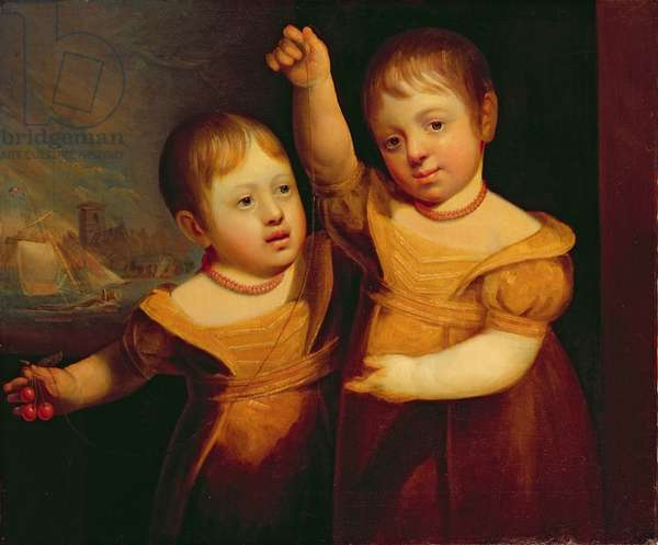 The Twin Children of Captain George Walsh, Master Mariner of Selby, Yorkshire, c.1830 (oil on canvas)