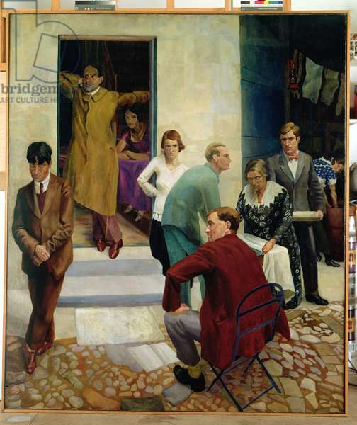 Gathering on the Terrace at 47 Downshire Hill, Hampstead, c.1924-25 (oil on canvas)