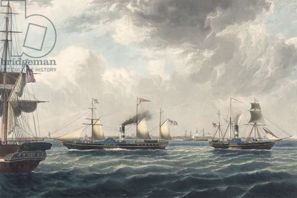 The Steamships 'Vivid' and 'Waterwitch' off Orfordness, engraved by R. G. Reeve (coloured aquatint)