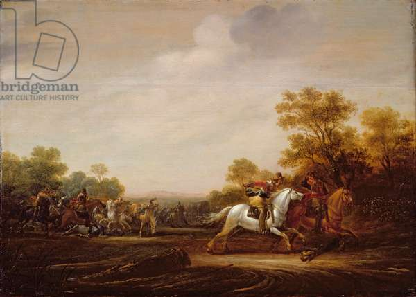 A Skirmish of Cavalry, 1640s (oil on panel)