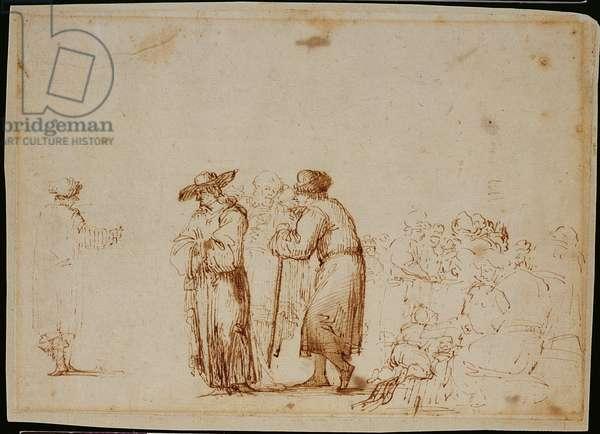 Dutch Figures (pen, sepia, ink & wash on paper)