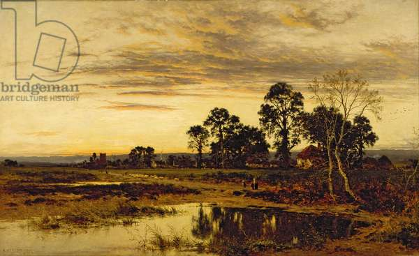 When Sun is Set: A Worcestershire Village, 1892 (oil on canvas)