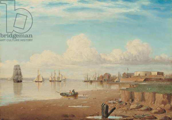 Ships on the Humber and the South Blockhouse, early 1830s (oil on panel)
