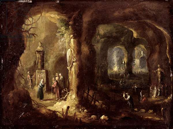Grotto with Statues and Numerous Figures Worshipping Idols (St Simeon Stylites), c.1640 (oil on copper)