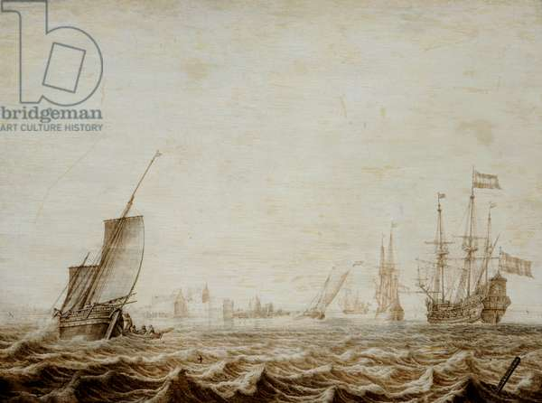 A Wijdschip Lowering Sail in a Choppy Sea, mid-17th century (oil on panel)