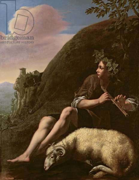 Pastoral, Shepherd and Sheep (oil on canvas) (post restoration)