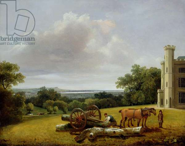 Loading a Timber Wagon at Cave Castle, Yorkshire, 1806 (oil on canvas)
