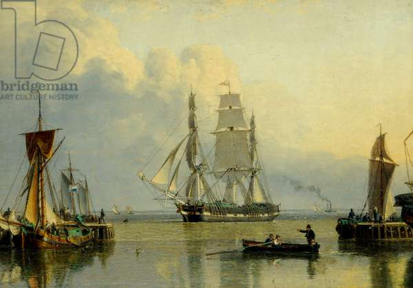 The 'William Lee' entering the Humber Dock, Hull (oil on panel)