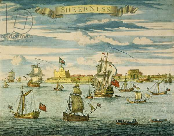 Sheerness, Kent, engraved by Johannes Kip (1652-1722) (hand-coloured engraving)