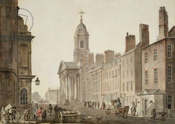 St George's, Hanover Square, London, 1780s (pen, ink & w/c on paper)