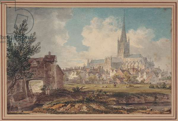 Norwich Cathedral from the South-East (pencil, ink & w/c on paper)