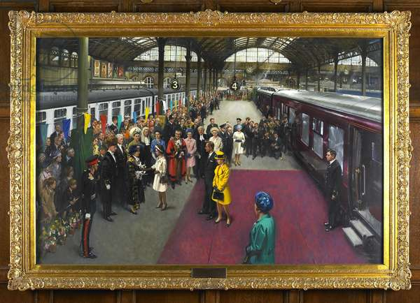 The Surrender of the Sword of State to H.M. Queen Elizabeth II on her arrival at Kingston upon Hull on 4th August 1969, 1970 (oil on canvas)