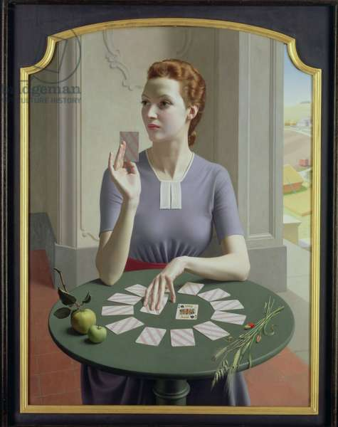 A Game of Patience (Miss Margaret Austin-Jones) 1937 (oil on canvas)