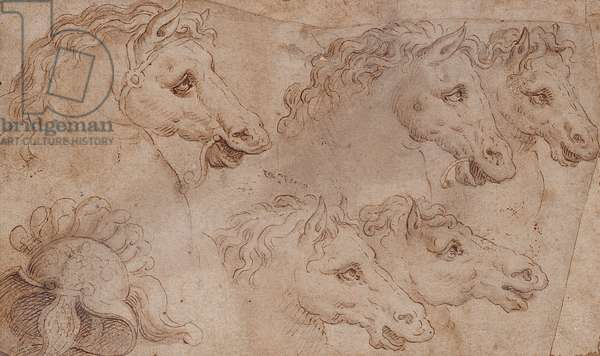 Horses' heads and a Roman helmet (pen, ink & wash on paper)