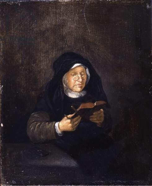 Old Woman Reading, 1650s (oil on oak panel)