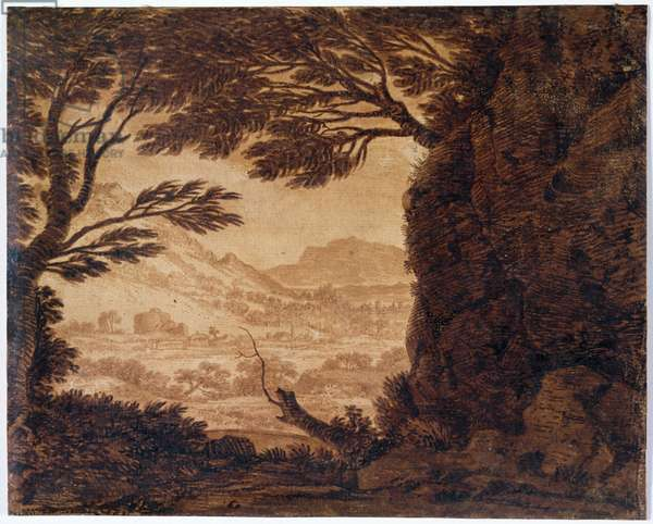 Classical Landscape, mid-18th century (sepia on paper)