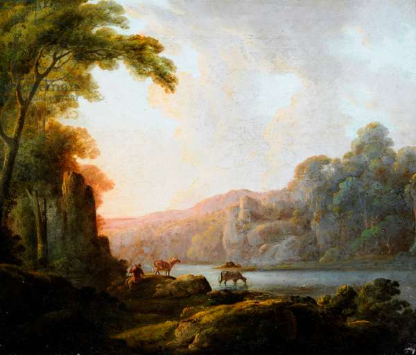 Lakeside Scene with Cattle (oil on canvas)