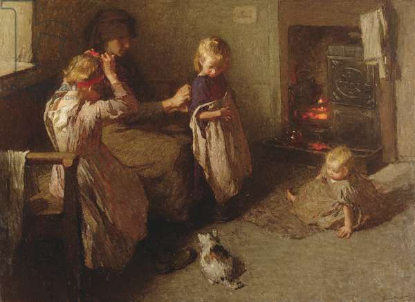 Dressing the Children, 1906 (oil on canvas)