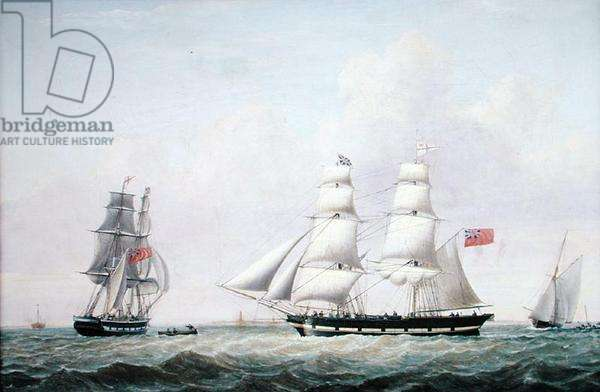 The Brig, 'Wupper', off Spurn Head, 1842 (oil on canvas)