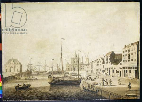 View of the Leuvehaven (grisaille)