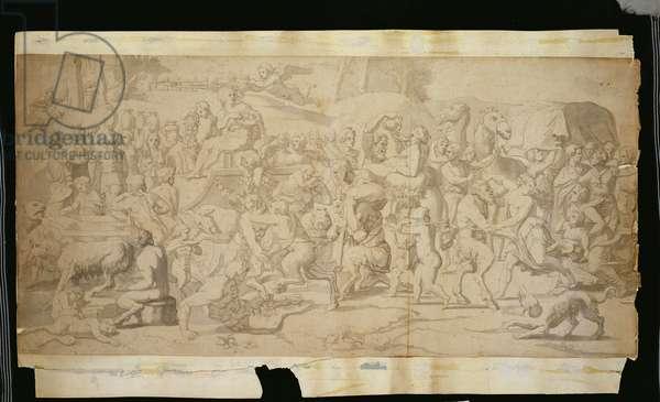 Mythological Scene with Satyrs (pen, ink & wash on paper)
