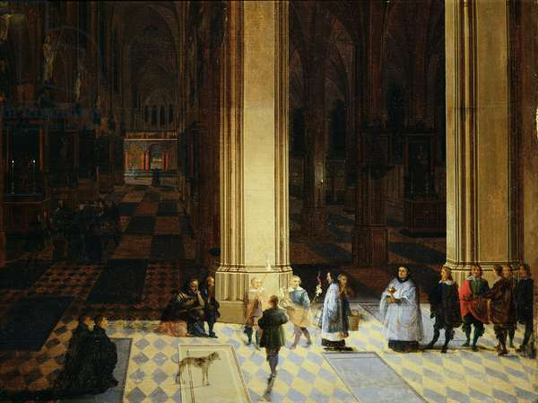 Interior of Antwerp Cathedral by Night, mid-17th century (oil on panel)