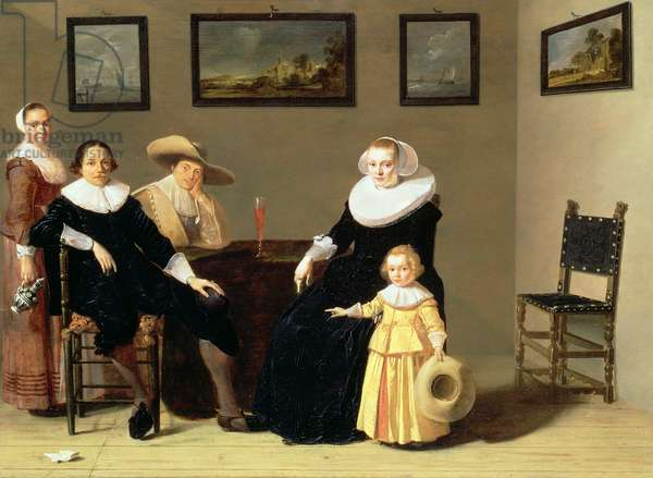 Dutch Family in an Interior, 1634 (oil on panel)
