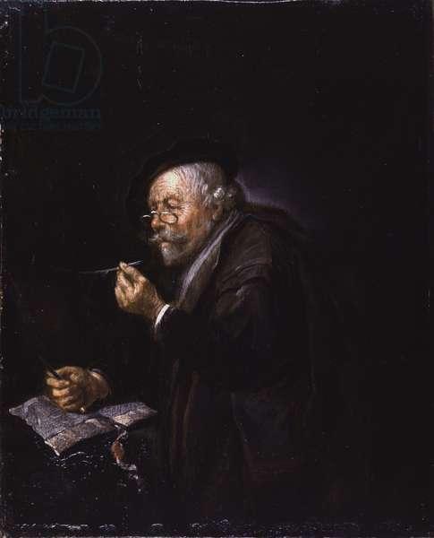 Old Man Writing, 1650s (oil on oak panel)